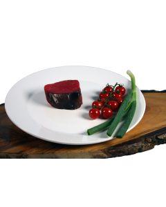 Filet-Steak vom Rind – dry aged; seitliche Ansicht.