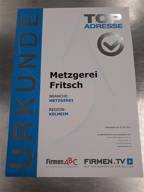 Auszeichnung Metzgerei Fritsch