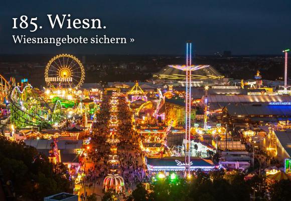 Das Münchner Oktoberfest bei Nacht.
